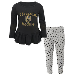 Vegas Golden Knights Outerstuff Toddler Girls Puck Drop Sweetheart Set
