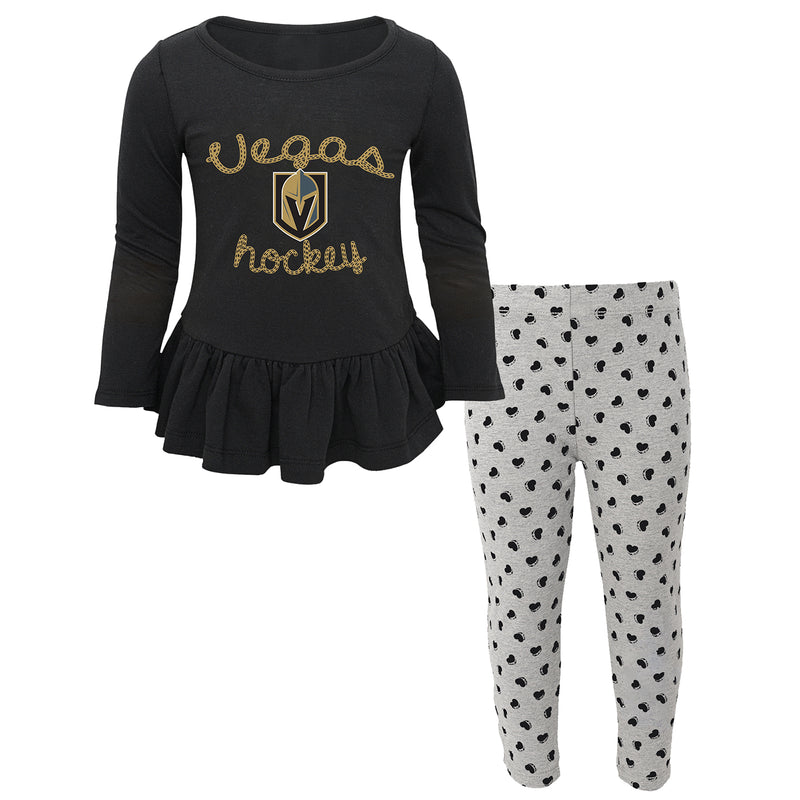 Vegas Golden Knights Outerstuff Toddler Girls Puck Drop Sweetheart Set - VegasTeamStore