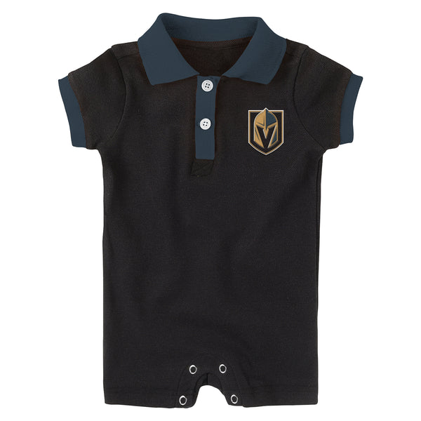 Vegas Golden Knights Outerstuff Infant Little Polo Prepster Short Sleeve Romper - Black - VegasTeamStore