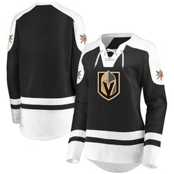 Vegas Golden Knights Majestic Womens Centre Lace-Up Pullover Sweatshirt - Black/White - VegasTeamStore