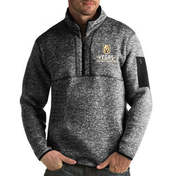 Vegas Golden Knights Antigua Mens Fortune 1/4 Zip Pullover Fleece - Charcoal