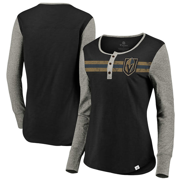 Vegas Golden Knights Fanatics Branded Womens True Classics Retro Henley Long Sleeve T-Shirt - Black/Grey