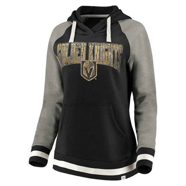 Vegas Golden Knights Fanatics Branded Womens True Classic Vintage Retro Stripe Raglan Fleece Pullover Hoodie - Black/Grey