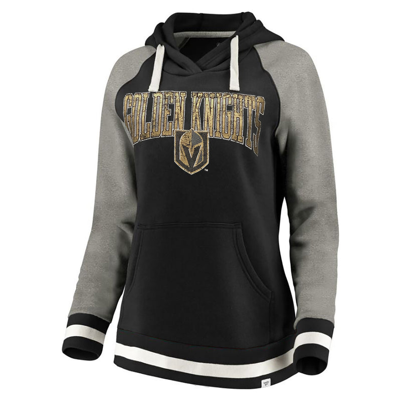 Vegas Golden Knights Fanatics Branded Womens True Classic Vintage Retro Stripe Raglan Fleece Pullover Hoodie - Black/Grey - VegasTeamStore