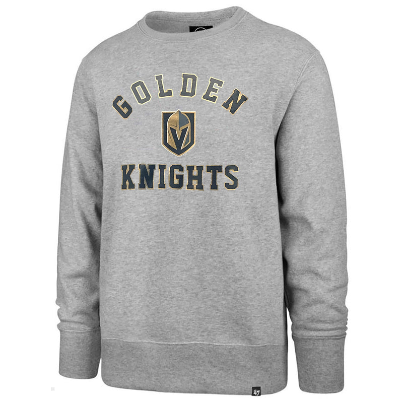 Vegas Golden Knights 47 Brand Headline Fleece Crew Pullover Sweatshirt - Grey - VegasTeamStore