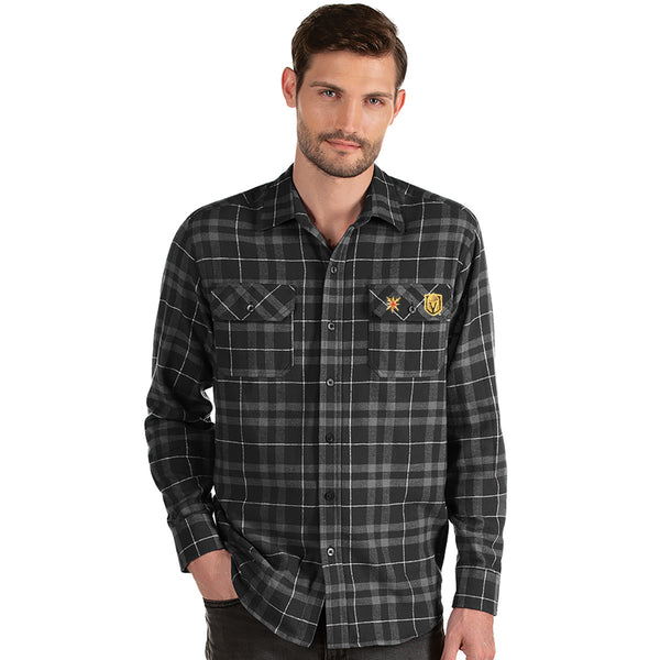 Vegas Golden Knights Antigua Stance Plaid Button-Up Long Sleeve Shirt - Black/Gray - VegasTeamStore
