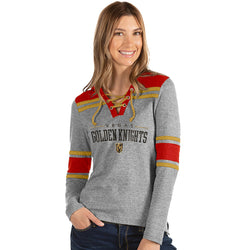 Vegas Golden Knights Women's Wrestle Lace-Up Long Sleeve Hoodie by Antigua - VegasTeamStore