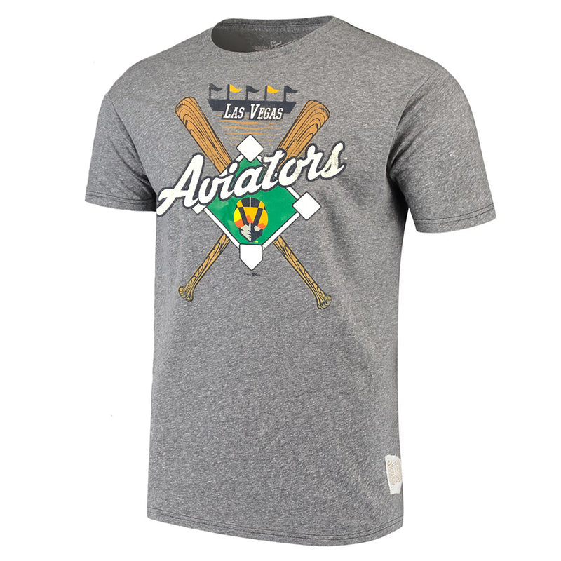 Vegas Aviators Retro Brand Mens Crossed Baseball Bats Logo Tri-blend Tee - Grey