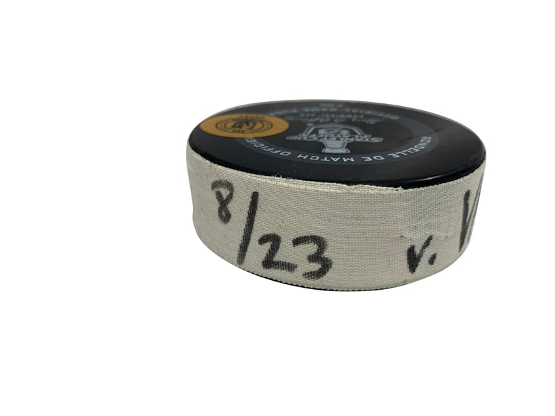 2020 Stanley Cup Playoffs: Vancouver Canucks vs Vegas Golden Knights, Game 1, Game-Used Puck