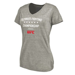 UFC Ladies Ash MCMXCII V-Neck Grey Tri-blend Tee - VegasTeamStore