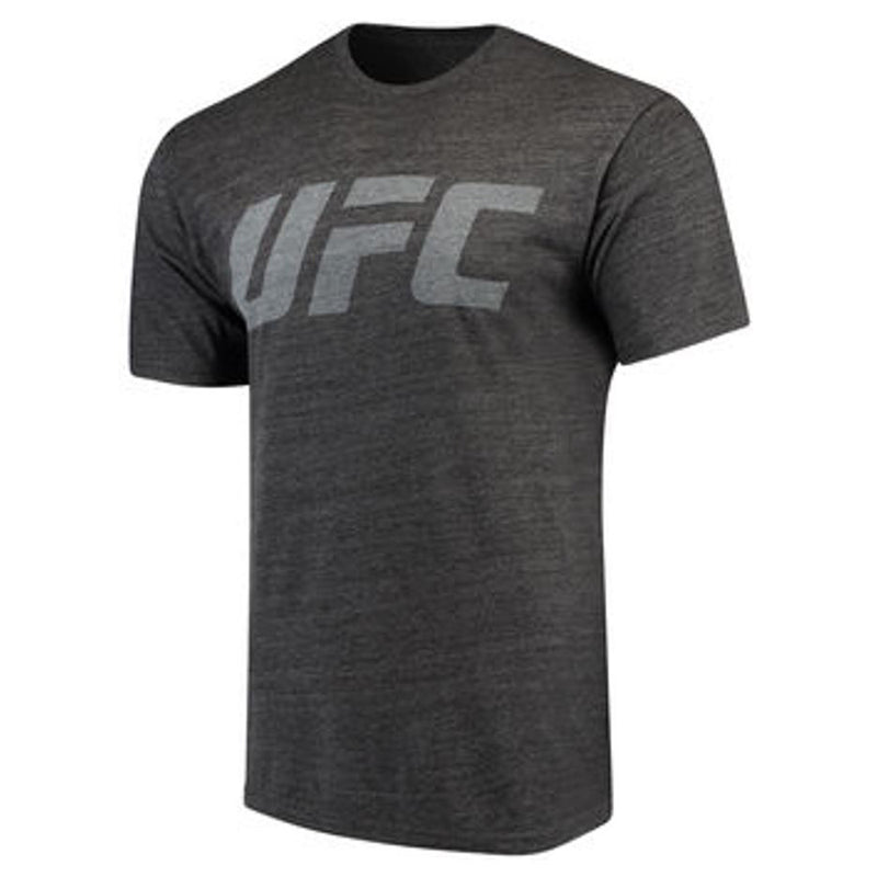 UFC Mens Heather Black Logo Tri-blend Crew Tee