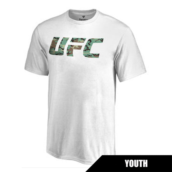 UFC Youth White Camo Logo Crew Tee