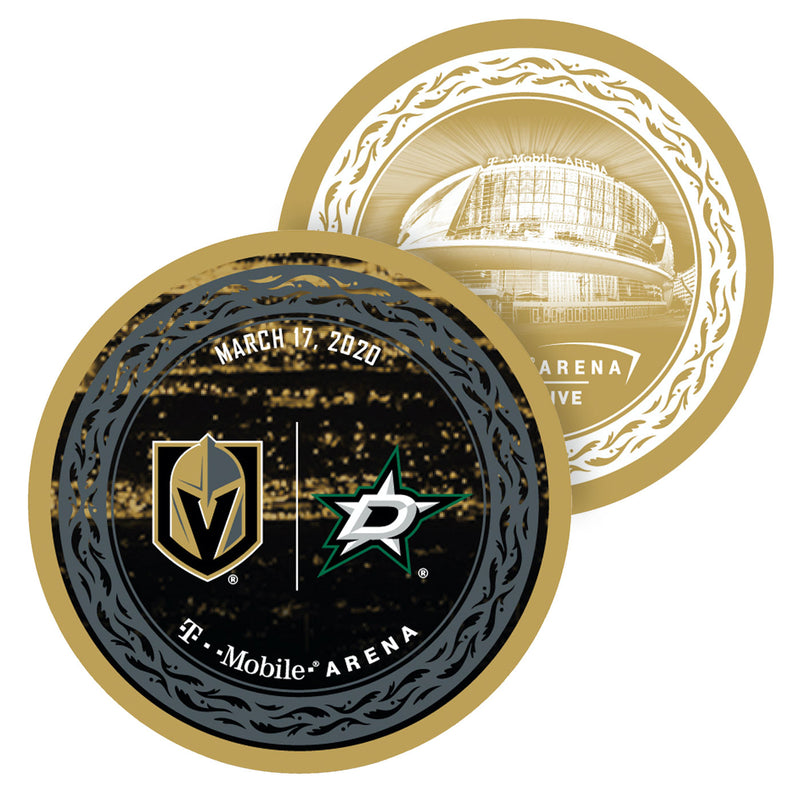 Vegas Golden Knights vs. Dallas Stars Match-Up Souvenir Puck - March 17, 2020 - VegasTeamStore