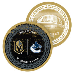 Vegas Golden Knights vs. Vancouver Canucks Match-Up Souvenir Puck - March 23, 2020 - VegasTeamStore