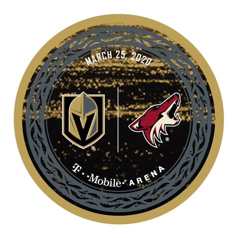 Vegas Golden Knights vs. Arizona Coyotes Match-Up Souvenir Puck - March 25, 2020