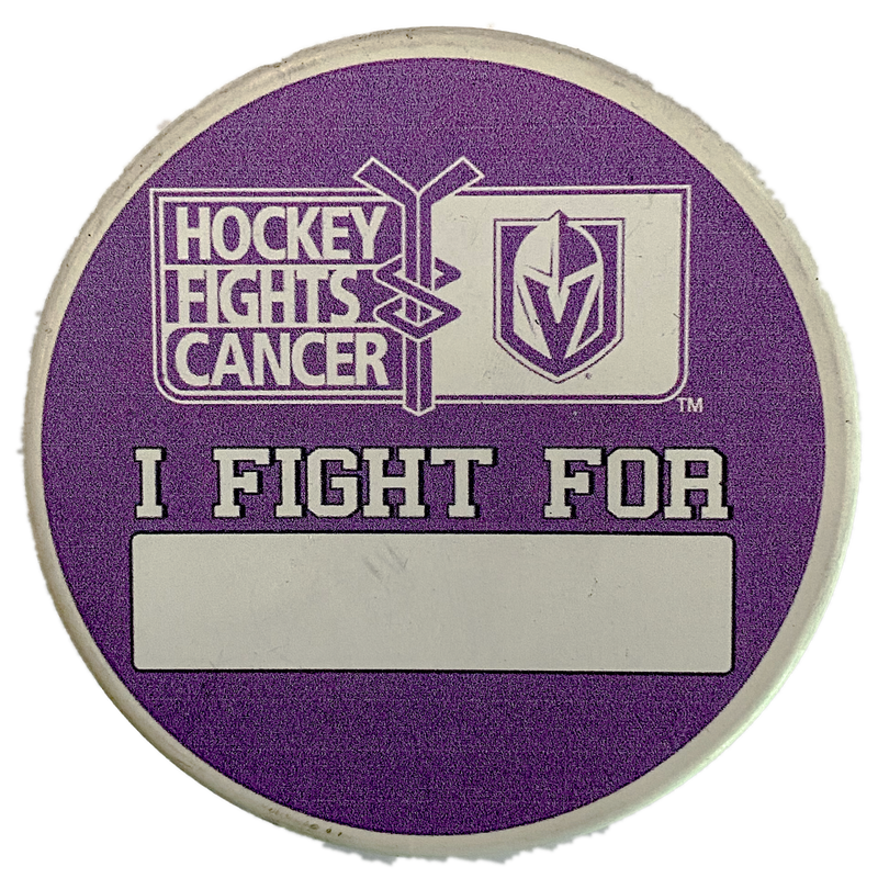 "Vegas Golden Knights Hockey Fights Cancer ""I Fight For"" Puck - VegasTeamStore"