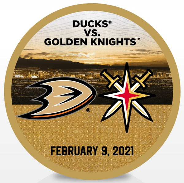 Anaheim Ducks @ Vegas Golden Knights Match-Up Souvenir Puck - February 9, 2021