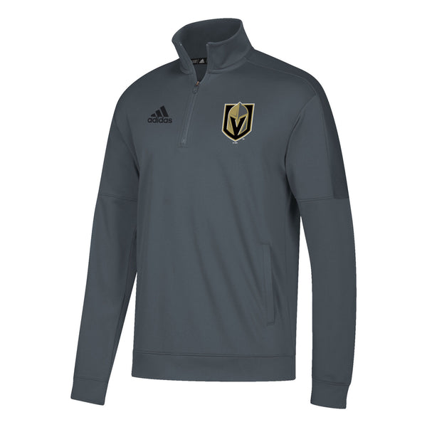 Vegas Golden Knights adidas Mens Badge of Sport 1/4 Zip Pullover - Grey - VegasTeamStore