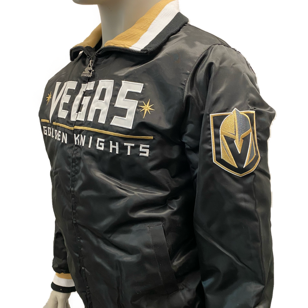 Vegas Golden Knights Starter Mens Dugout Spring Training Jacket - Black/Gold - VegasTeamStore