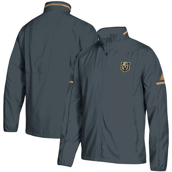Vegas Golden Knights adidas Mens Authentic Rink Full-Zip Jacket - Steel Grey - VegasTeamStore