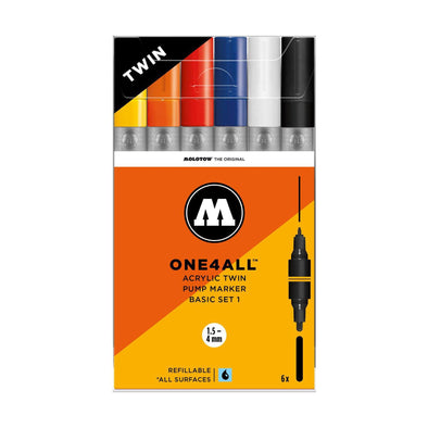 Molotow One 4 All Acrylic Twin 6x marker set Basic 1
