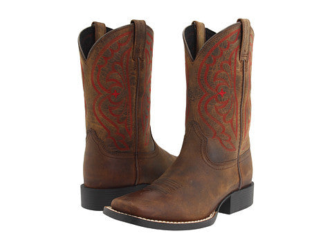 Ariat Kids Quickdraw Brown Oiled square toe cowboy boot