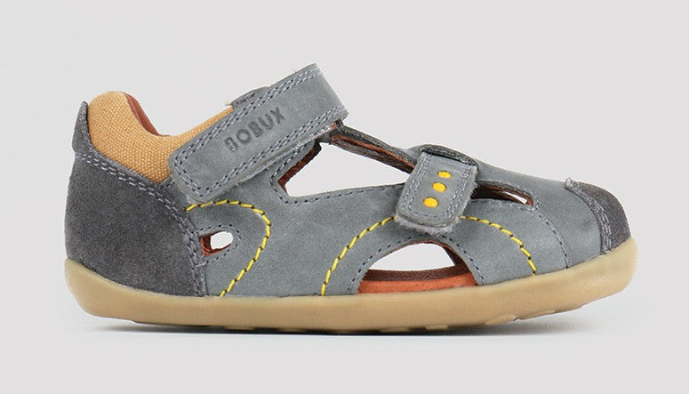 Bobux Step up Chase Leather Sandal in grey