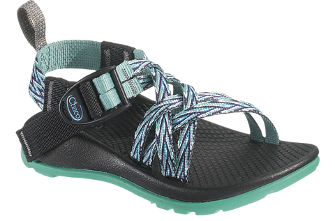 Chaco Kids ZX/1 Sport sandal in blue and green pattern