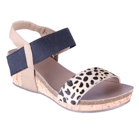 Corkys Kids Zap Cheetah Cork Wedge Sandal Child Youth