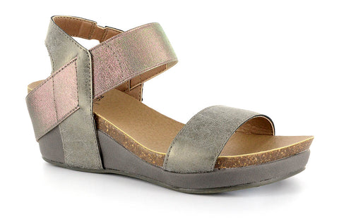 Corkys Zap Wedge Sandal in Pewter for Little Kids and Big Kids