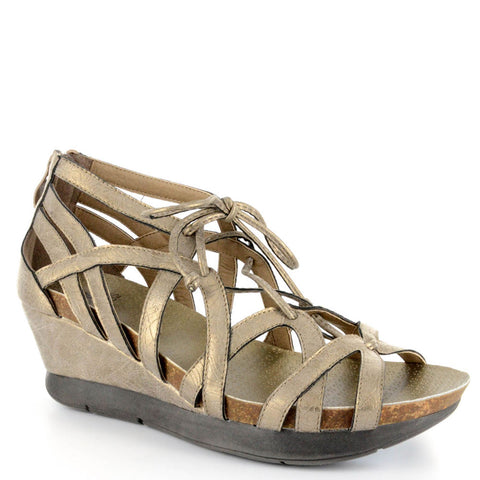 Corkys Lace Women's Wedge Sandal in Brushed Gold