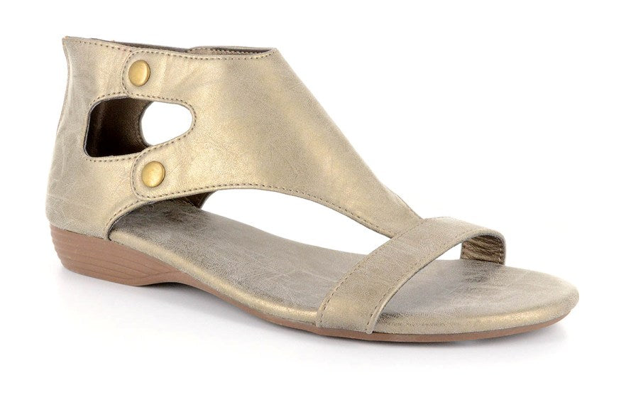 Amelia Gladiator Sandal by Corkys in Brushed Gold for Women and Big Girls