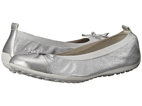 Geox: Kids Jr. Piuma 38 Ballet Youth/Big Kid/Womens (Silver)