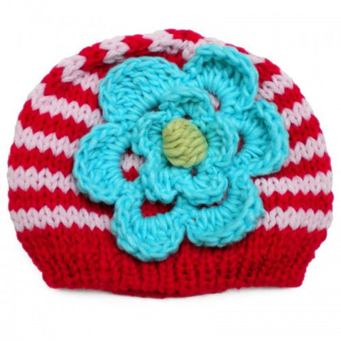 Huggalugs Beanie knit hat with pink and red stripes and knit teal flower for babies and toddlers