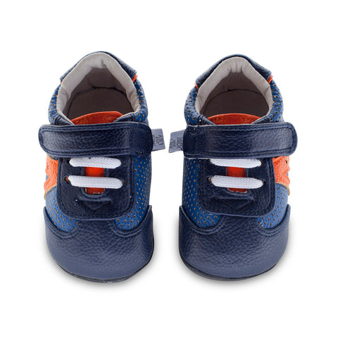 Denny Star Trainer by Jack & Lily in Navy and Orange for Infants and Toddlers