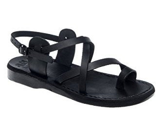 Jerusalem Sandals The Good Shepherd black toe loop sandal