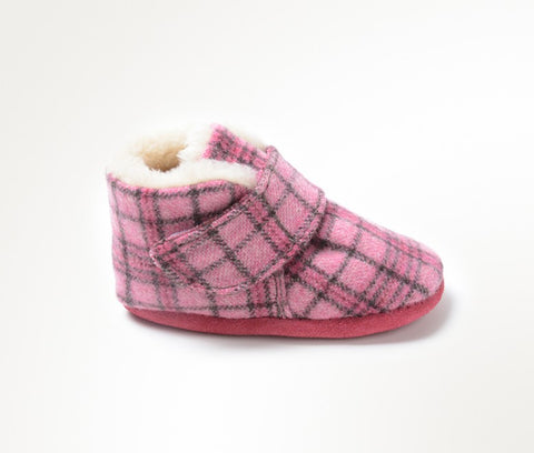 Sawyer Soft Baby Bootie by Minnetonka in Pink Plaid for Infants and Toddlers