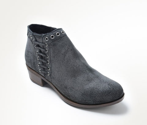 Minnetonka Brenna Womens Ankle Boot Suede Heel Side Lace Zip Vintage Charcoal Grey
