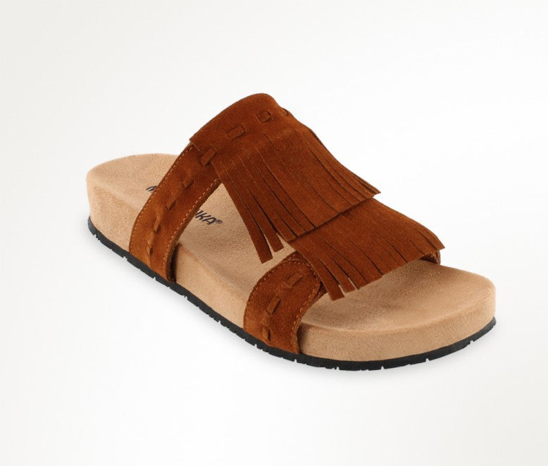 Minnetonka Women's Daisy Brown fringe sandal slide