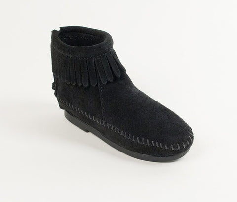 Minnetonka Kids Back Zip Boot Black