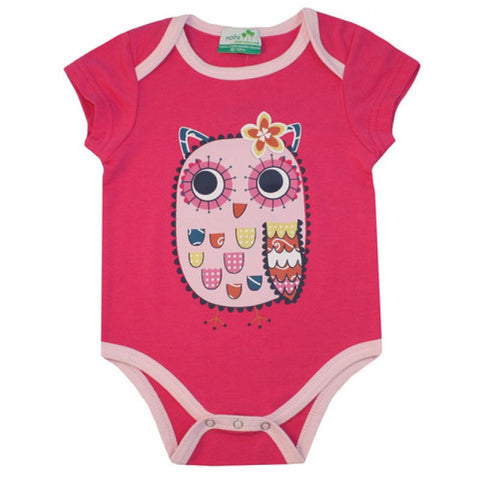 Nohi Kids Short Sleeve Bodysuit Owl on Hot Pink