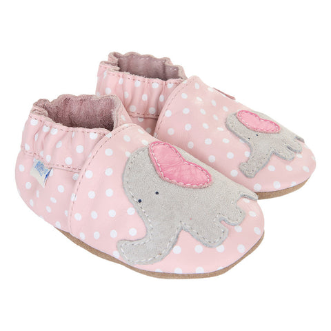 Robeez Little Peanut Elephant Pink White Polka Dots Pre-Walker Booties Infant Girl