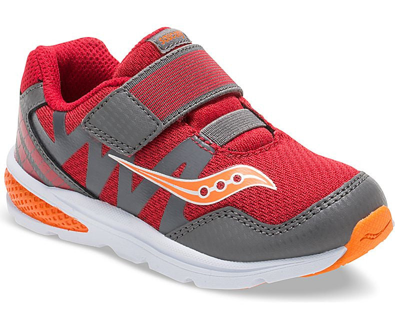Boys Baby Ride Pro by Saucony for Infants and Toddlers in Red, Grey and Orange