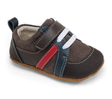 Emerson Smaller by See Kai Run in Brown Suede and Red and Blue Stripes