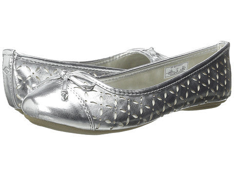 Sperry Top Sider Bethany silver with white cutouts ballet flat
