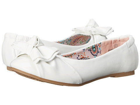 J Darling Slip On Flat by Steve Madden In White Patent in Youth Sizes