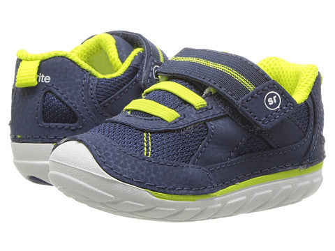 Stirde Rite Jamie Infant Toddler Sneaker Navy Green White Soft Motion