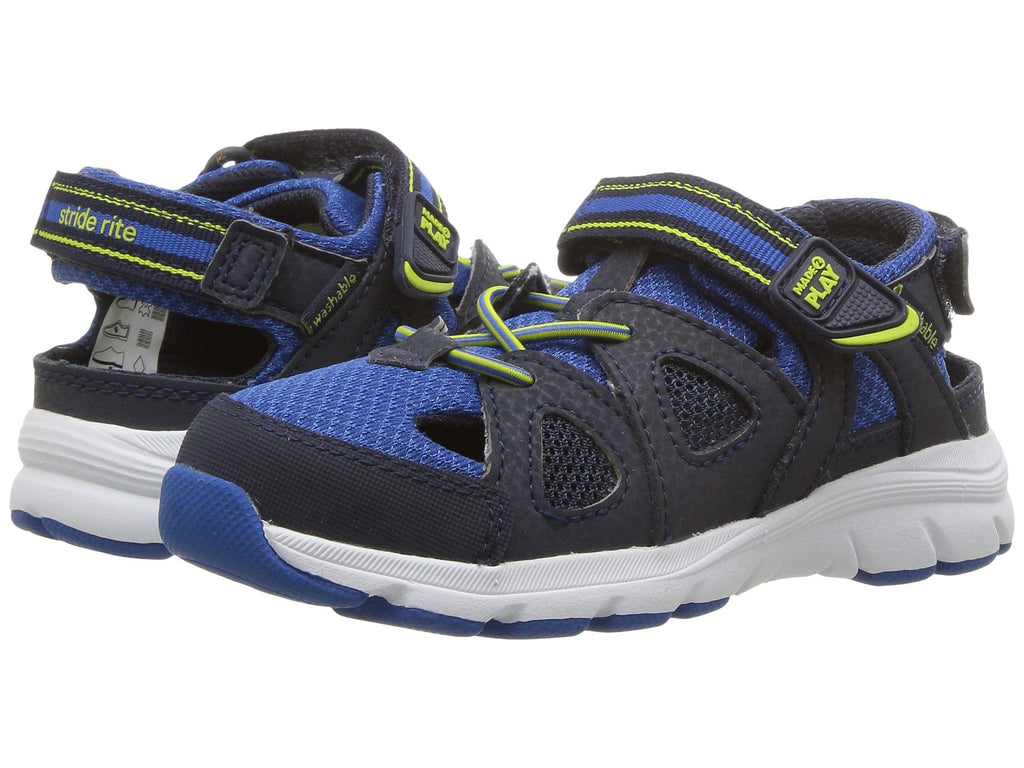Made to Play Ryder Water Sandal by Stride Rite in Navy/Royal/Lime for Toddler through Youth Sizes