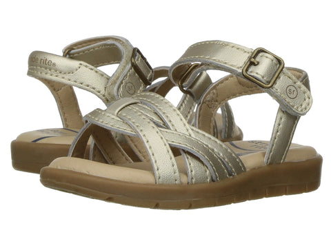 The SR-Millie Sandal by Stride Rite in Gold for Little and Big Girls