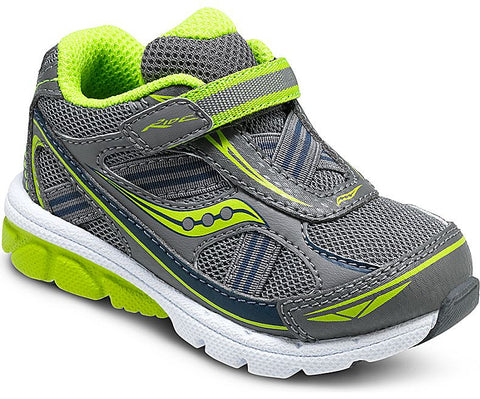 Boys Baby Ride by Saucony in Grey and Lime for Toddlers/Little Kids